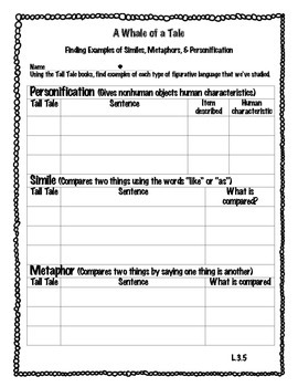 Tall Tale Figurative Language Review-Personification, Simi