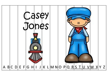 Tall Tales Casey Jones themed Alphabet Sequence Puzzle.  P