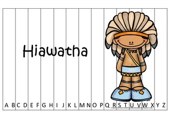 Tall Tales Hiawatha themed Alphabet Sequence Puzzle.  Pres