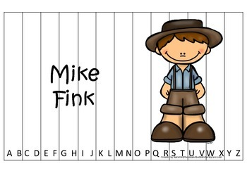 Tall Tales Mike Fink themed Alphabet Sequence Puzzle.  Pre