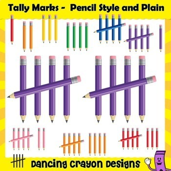 Tally Marks - Pencil Style, Plain, and Shiny Tally Marks Clip Art