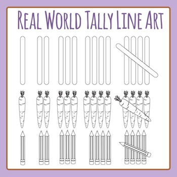 Tally Marks - Real World in Black and White Clip Art Set f
