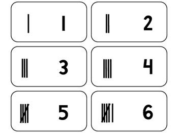 Tally Marks printable Flashcards. Math flashcards.