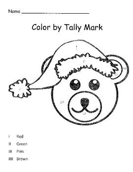 Tally and Color Christmas Bear