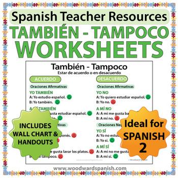 También Tampoco Spanish Grammar Worksheets