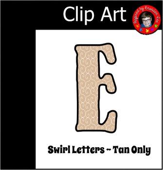 Tan Alphabet with Swirl background ~ Letter Clip Art ~ Com