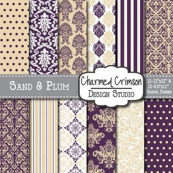 Tan and Purple Damask Digital Paper 1393