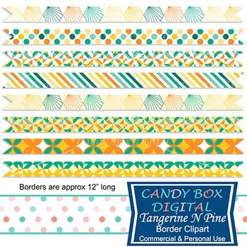 Tangerine N Pine Geometric Ribbon Border Clip Art - Commer