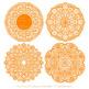 Tangerine Round Lace Doilies - Lace Doily, Vintage Doilies