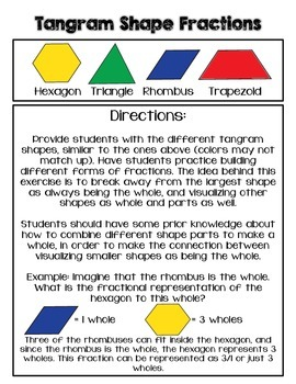 Tangram Fractions: Seeing All Shapes as Wholes and Parts FREEBIE
