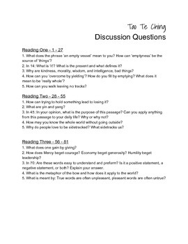 """""""Tao Te Ching"""" Discussion Questions"""