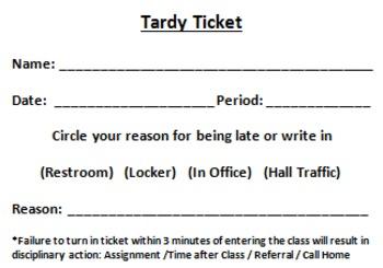 Tardy Tickets