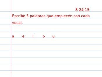 Tarea semanal bilingue Weekly prompt bilingual homework be