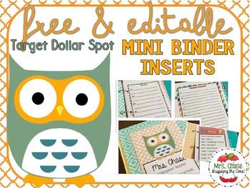 Target Dollar Spot Mini Binder Inserts FREE