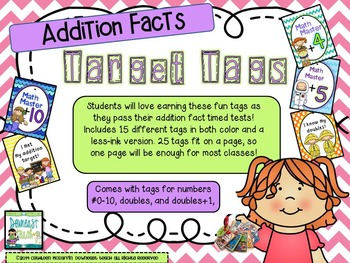 Target Tag Brag Tags: Addition Facts (Tags Only Version)