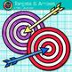 Target and Arrow Clip Art {Rainbow Bullseye Graphics for L