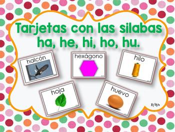 Tarjetas con las Silabas ha, he, hi, ho, hu.