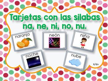 Tarjetas con las Silabas na, ne, ni, no, nu.