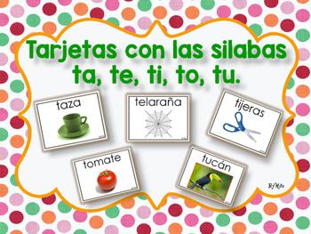 Tarjetas con las Silabas ta, te, ti, to, tu.
