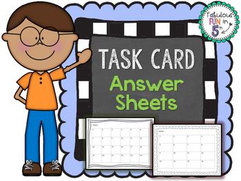 Task Card Answer Sheets