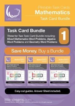 Task Card Bundle 1 | Task Cards on Geometry, Algebra and M