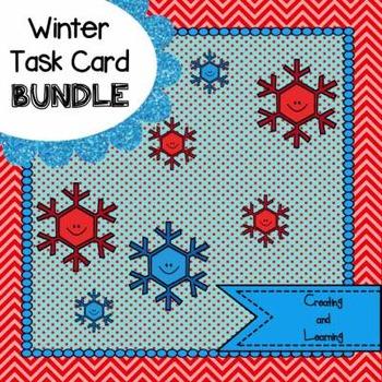 Noun, Verb and Adjective Winter Task Card Bundle