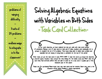 Task Card Collection: Solving Algebraic Equations with Var