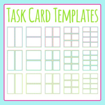 Task Card Color Templates / Flash Card Templates Clip Art