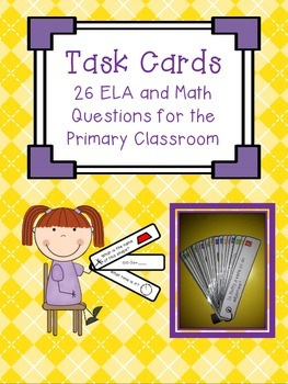 Task Card Fan - 26 ELA & Math Questions for the Primary Classroom