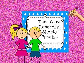 Task Card Recording Sheets Freebie