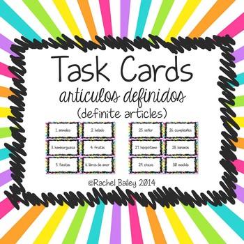 Task Card Set - Definite Articles (artículos definidos)