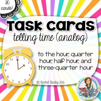 Task Card Set - La Hora (Time) - Analog, by 15 minutes