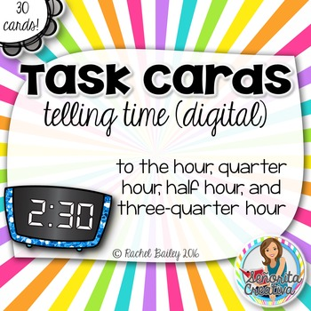 Task Card Set - La Hora (Time) - Digital, by 15 minutes