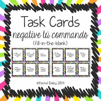 Task Card Set - Negative Tú Commands (Fill in Blank Version)