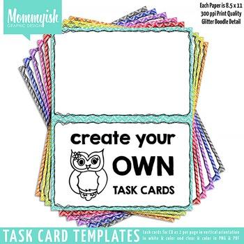 Task Card Templates #1 - 2x1 Vertical – Rainbow Chevrons