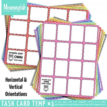 Task Card Templates #1 - 4x4 BUNDLE – Rainbow Chevrons