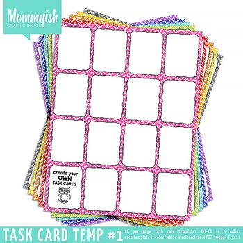Task Card Templates #1 - 4x4 Vertical – Rainbow Chevrons