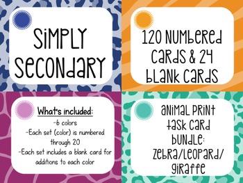 Task Card Templates: Animal Print Bundle