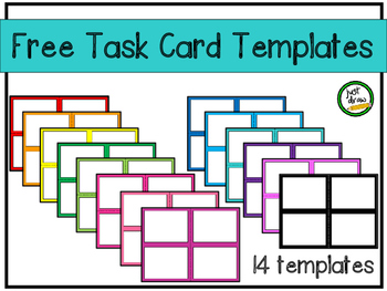 Task Card Templates - Rainbow colors