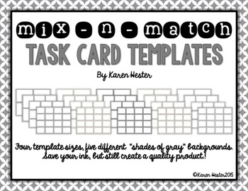 Task Card Templates - Shades of Gray