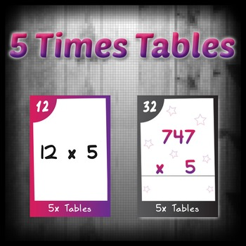 Task Cards - 5 Times Tables (with challenges)