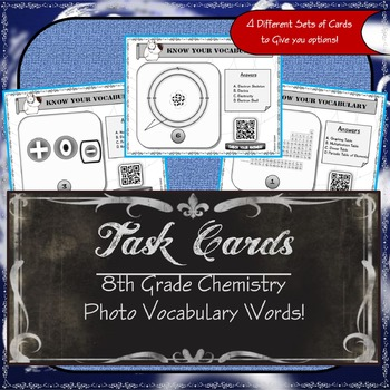 Task Cards - 8th Grade Chemistry Vocabulary - Free
