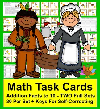 Thanksgiving Task Cards for Addition Facts to 10 for Thank