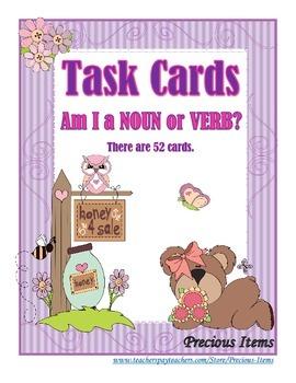 Am I a Noun or a Verb?  Task Cards
