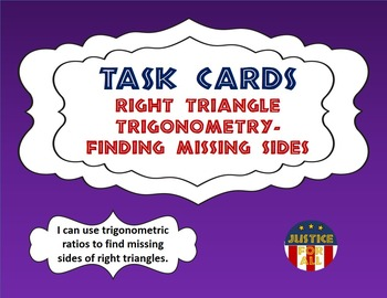 Task Cards BASIC - Right Triangle Trigonometry - Finding M