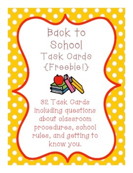 {Free!} Task Cards: Back To School SCOOT Practice