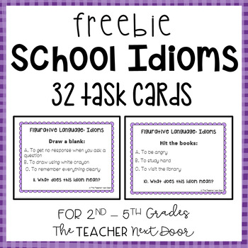 Free School Idioms Task Cards
