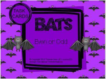 Task Cards Bats Even or Odd