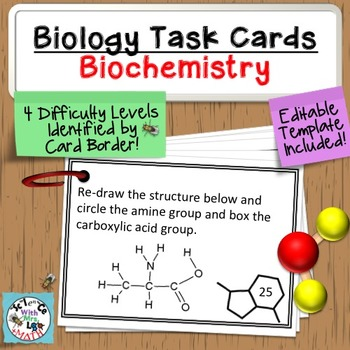 Task Cards: Biochemistry 60 Task Cards - Monomers, Polymers, Macromolecules