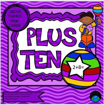 Task Cards Circus Themed Have a Ball with Plus Ten